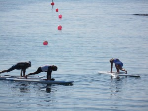 Pilates lesson on SUP board
